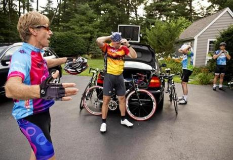 """The event is the candy,"" said Pan-Mass Challenge founder Billy Starr (left), seen before a recent training ride. ""The money is the core of the mission."""
